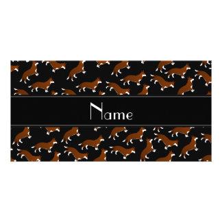 Personalized name black welsh corgi cardigan dogs customized photo card
