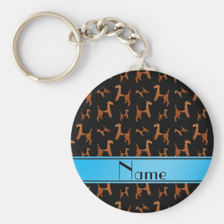 Personalized name black Welsh Terrier dogs Basic Round Button Key Ring