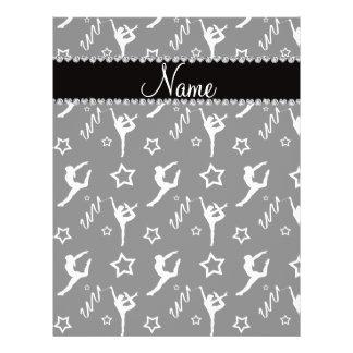 Personalized name black white gymnastics stars 21.5 cm x 28 cm flyer