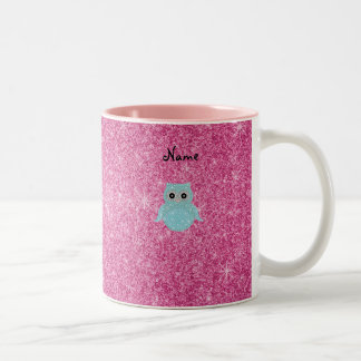 Personalized name bling owl diamonds coffee mugs