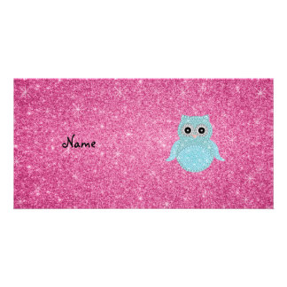 Personalized name bling owl diamonds personalized photo card