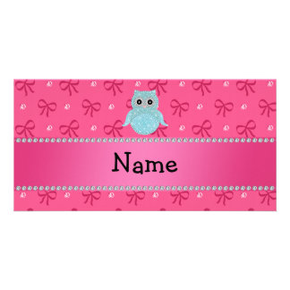Personalized name bling owl diamonds pink bows photo cards