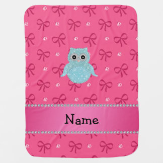 Personalized name bling owl diamonds pink bows receiving blanket