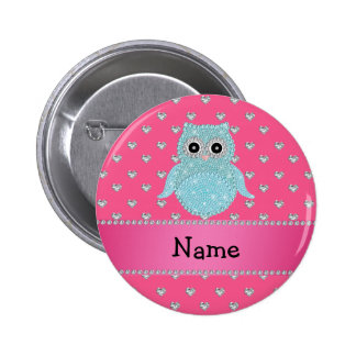 Personalized name bling owl diamonds pink hearts 6 cm round badge
