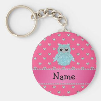 Personalized name bling owl diamonds pink hearts basic round button key ring