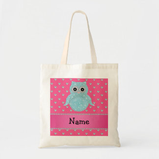 Personalized name bling owl diamonds pink hearts budget tote bag