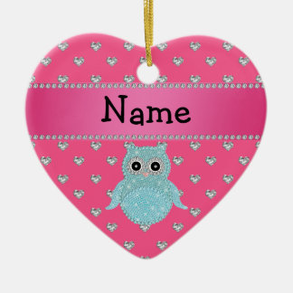 Personalized name bling owl diamonds pink hearts ceramic heart decoration