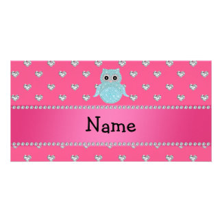 Personalized name bling owl diamonds pink hearts photo cards