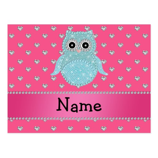 Personalized name bling owl diamonds pink hearts postcards