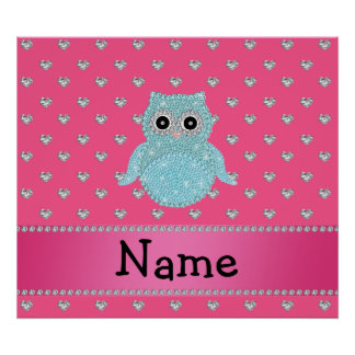 Personalized name bling owl diamonds pink hearts print