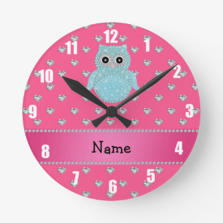 Personalized name bling owl diamonds pink hearts round clock