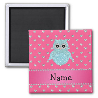 Personalized name bling owl diamonds pink hearts square magnet