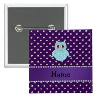 Personalized name bling owl diamonds purple diamon 15 cm square badge