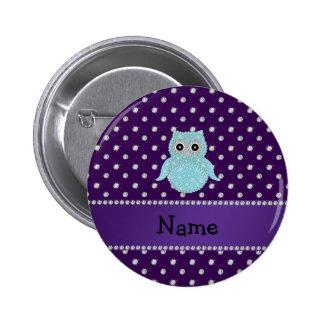 Personalized name bling owl diamonds purple diamon 6 cm round badge