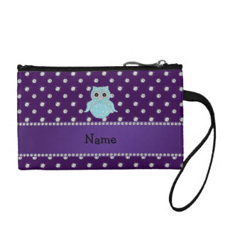 Personalized name bling owl diamonds purple diamon coin wallets