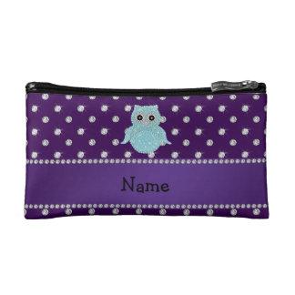 Personalized name bling owl diamonds purple diamon cosmetics bags