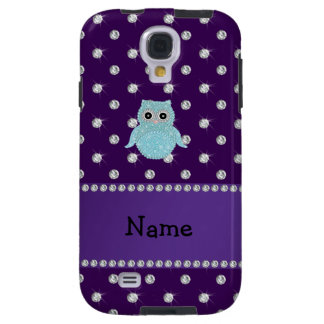 Personalized name bling owl diamonds purple diamon galaxy s4 case