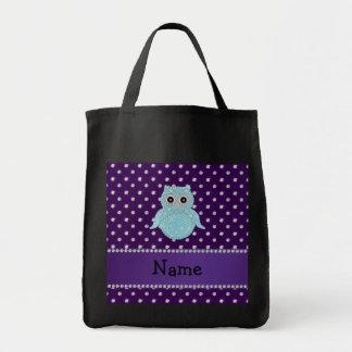 Personalized name bling owl diamonds purple diamon grocery tote bag
