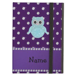 Personalized name bling owl diamonds purple diamon iPad air cases