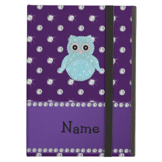 Personalized name bling owl diamonds purple diamon iPad air cover