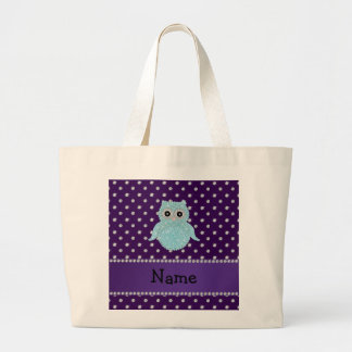 Personalized name bling owl diamonds purple diamon jumbo tote bag