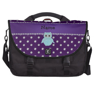 Personalized name bling owl diamonds purple diamon laptop computer bag