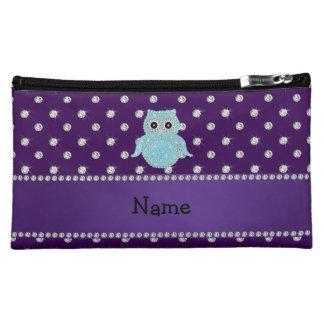 Personalized name bling owl diamonds purple diamon makeup bags