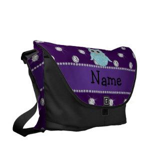 Personalized name bling owl diamonds purple diamon courier bags