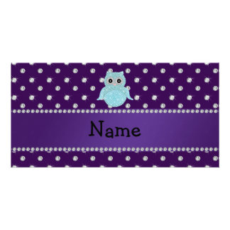 Personalized name bling owl diamonds purple diamon photo greeting card