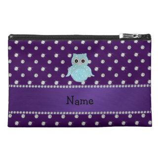 Personalized name bling owl diamonds purple diamon travel accessory bag
