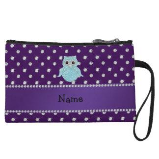 Personalized name bling owl diamonds purple diamon wristlet purse