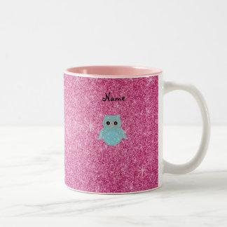 Personalized name bling owl diamonds Two-Tone coffee mug