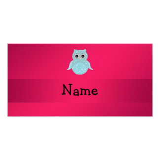 Personalized name bling owl pink photo card