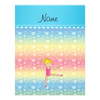 Personalized name blonde gymnast rainbow hearts 21.5 cm x 28 cm flyer