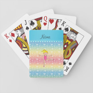 Personalized name blonde gymnast rainbow hearts poker deck