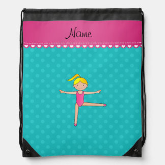 Personalized name blonde gymnast turquoise dots drawstring bag