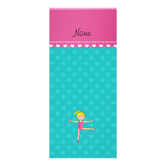Personalized name blonde gymnast turquoise dots full color rack card