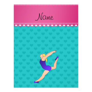 Personalized name blonde gymnast turquoise hearts flyer