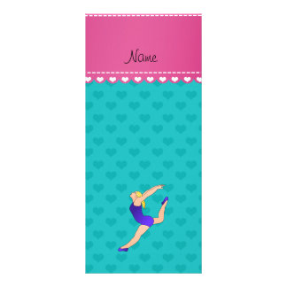 Personalized name blonde gymnast turquoise hearts customized rack card