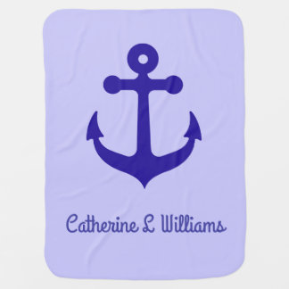 Personalized name Blue anchor on light purple Baby Blanket