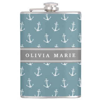 Personalized Name Blue Anchor Pattern Hip Flask