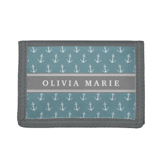 Personalized Name Blue Anchor Pattern Trifold Wallet