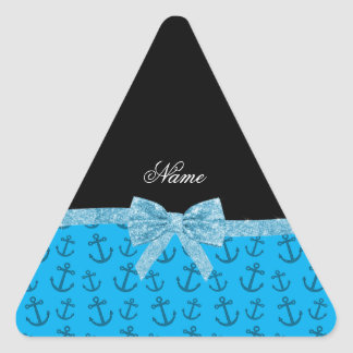 Personalized name blue anchors glitter bow sticker
