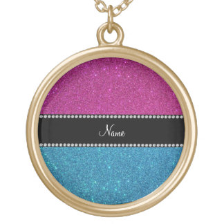 Personalized name blue and pink glitter pendant