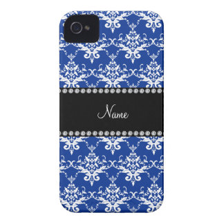 Personalized name blue and white damask iPhone 4 Case-Mate cases