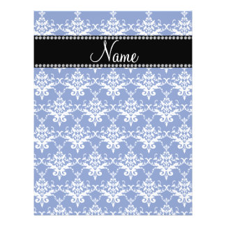 Personalized name blue and white damask personalized flyer