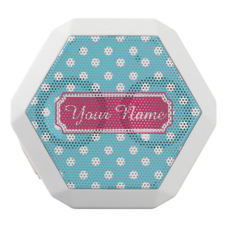 Personalized Name Blue and White Polka Dots White Boombot Rex Bluetooth Speaker