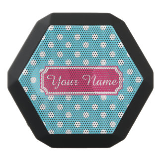 Personalized Name Blue and White Polka Dots Black Boombot Rex Bluetooth Speaker