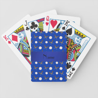 Personalized name blue baseball bicycle playing cards