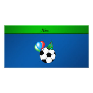 Personalized name blue birthday soccer personalized photo card